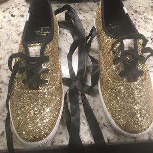 Kate Spade Keds - Gold Glitter with black laces